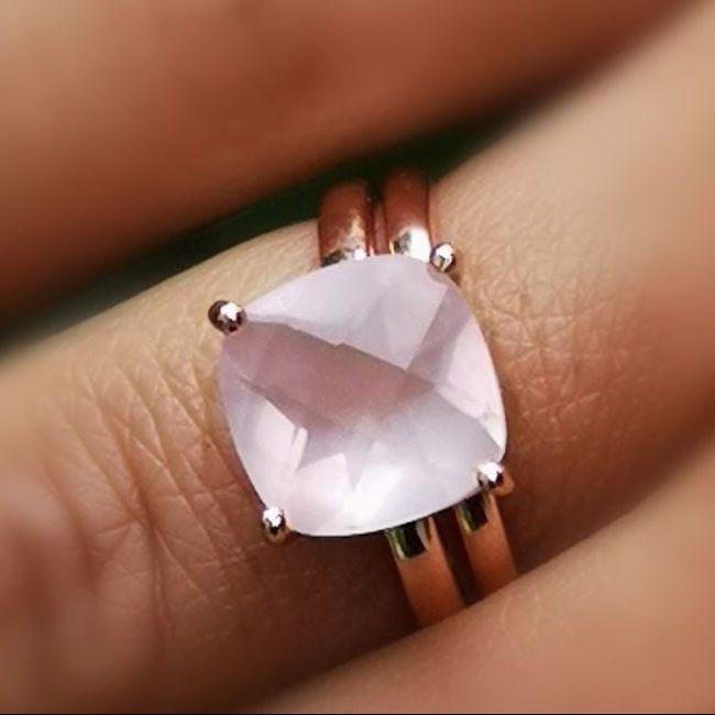 bague quartz rose alexbok, la pierre de l'amour