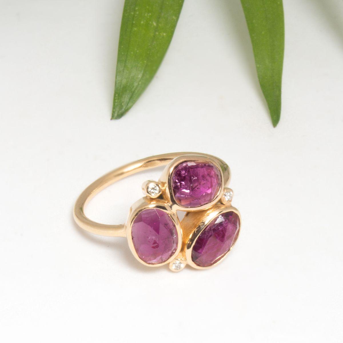Bague Fleur Tourmaline Rose Creatrice De Bijoux Artisanaux