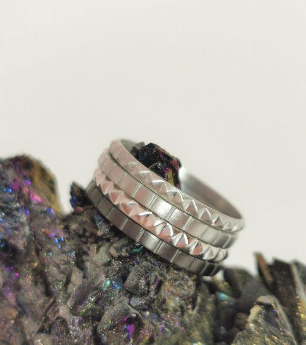 Bagues anneaux argent mat brillant et rhodium noir