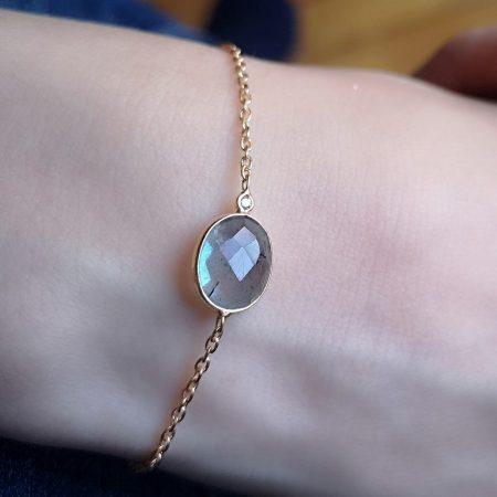 Bracelet argent doré labradorite et diamant