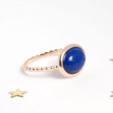 Bague Galet argent 925 doré or rose et lapis lazuli