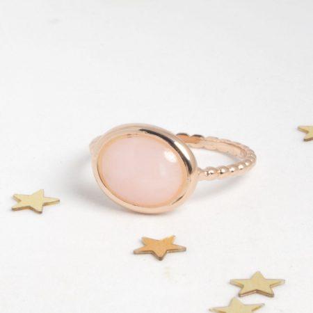 Bague Galet argent 925 doré or rose et opale rose cabochon