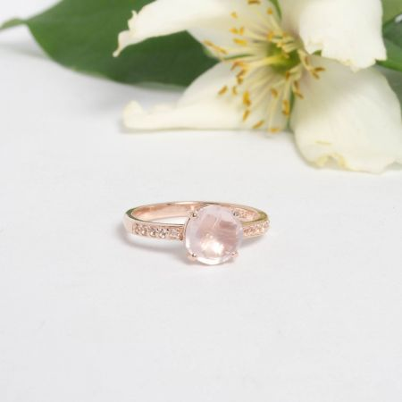 Bague Pompon quartz rose Alexbok
